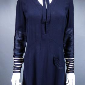 c946e036 Navy Dress in Wool Jersey with Ribbons Circa 1935/1940